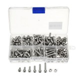 Suleve™ M4SH1 M4 Stainless Steel Hex Socket Cap Head Screws Bolts Nuts Assortment Kit 250Pcs