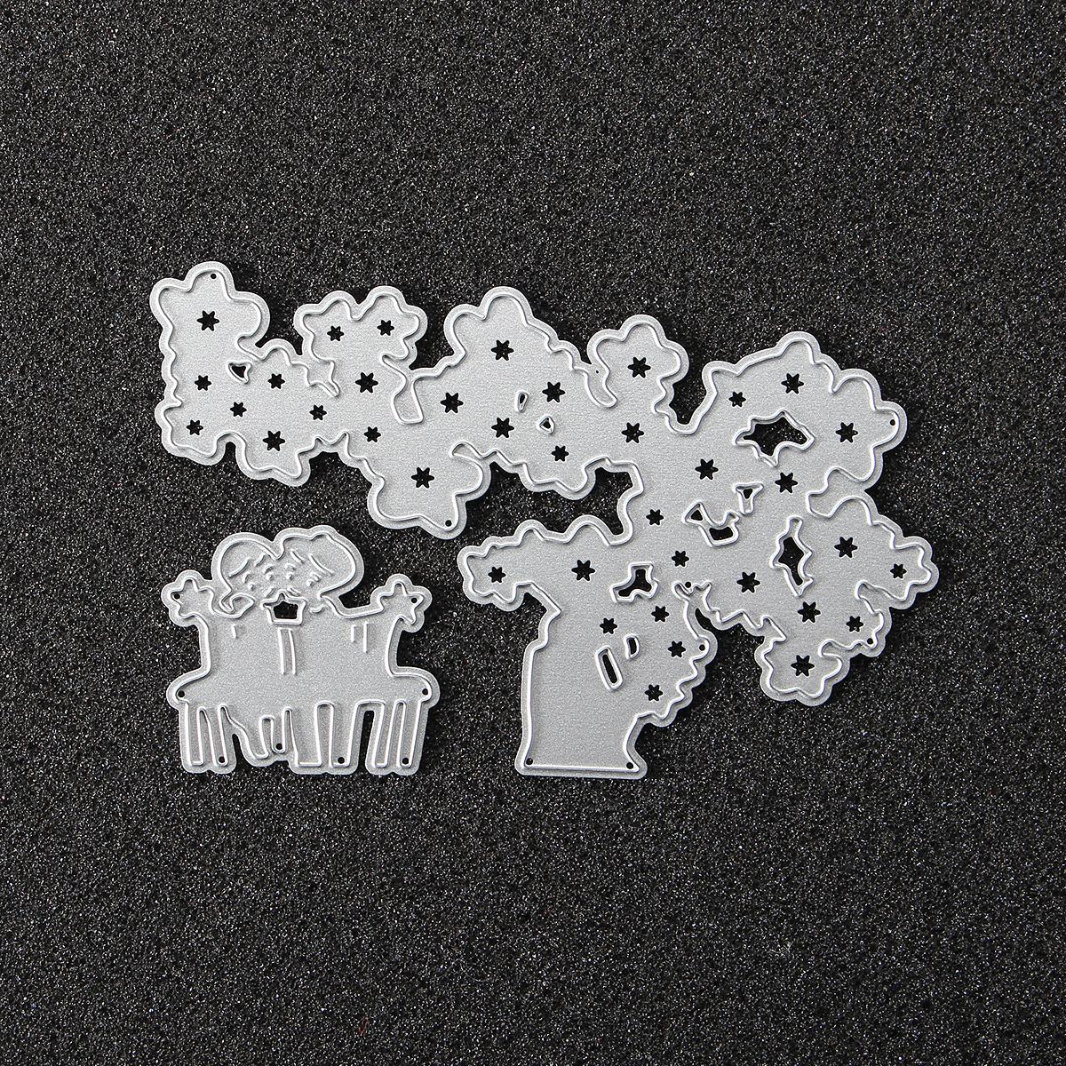 Tree and Children Cutting Dies Stencils for DIY Scrapbooking Photo Album Embossing