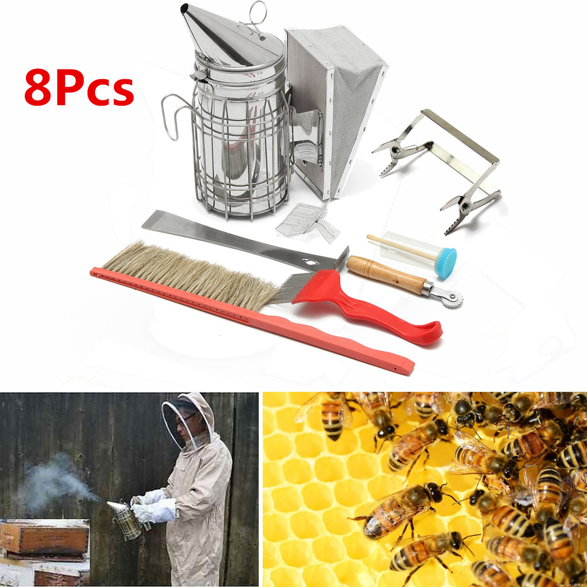 Beekeeping Tools Kit Bee Hive Smoker Scraper Beekeeping Equipment Beehive