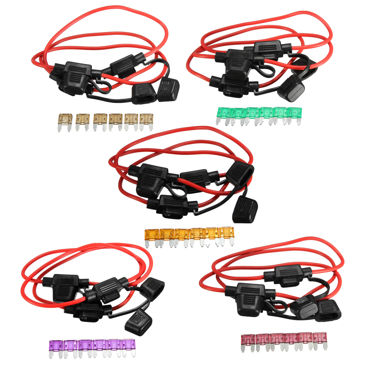 3pcs 200mm 14 Gauge ATC Fuse Holder In-line AWG Wire + 6PCS 11mm Car ...