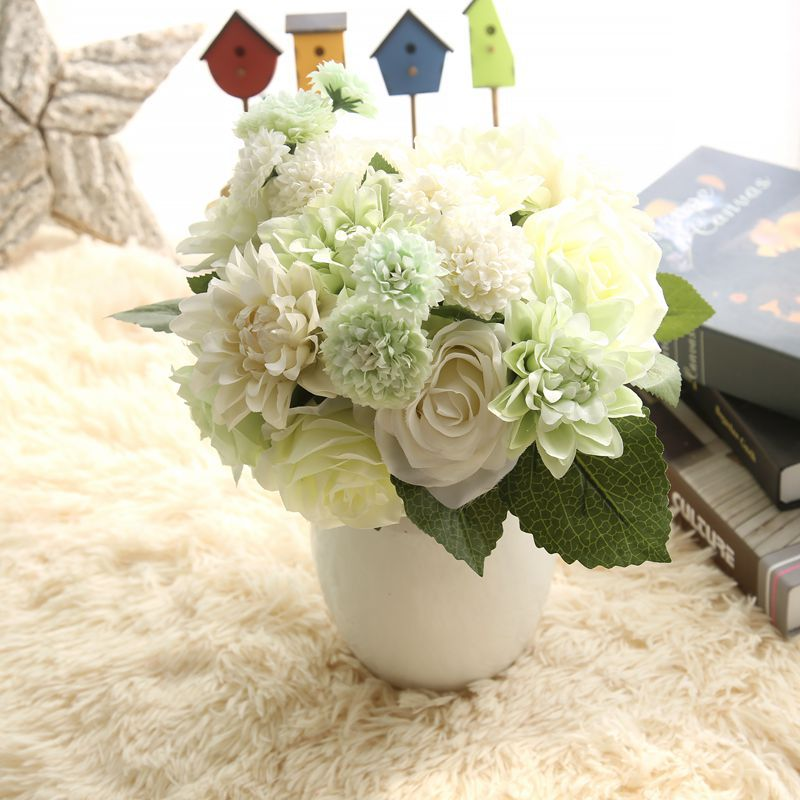 Rose artificial flowers bridal bouquet fake flower for for Artificial flower decoration for home