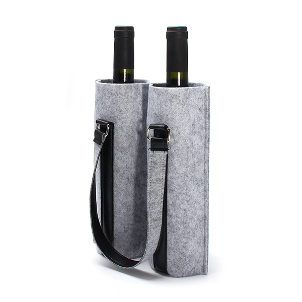 Kcasa Kc Bc02 Wool Felt Two Water Wine Bottle Carrier Bag Champagne Travel Tote Holder Organizer