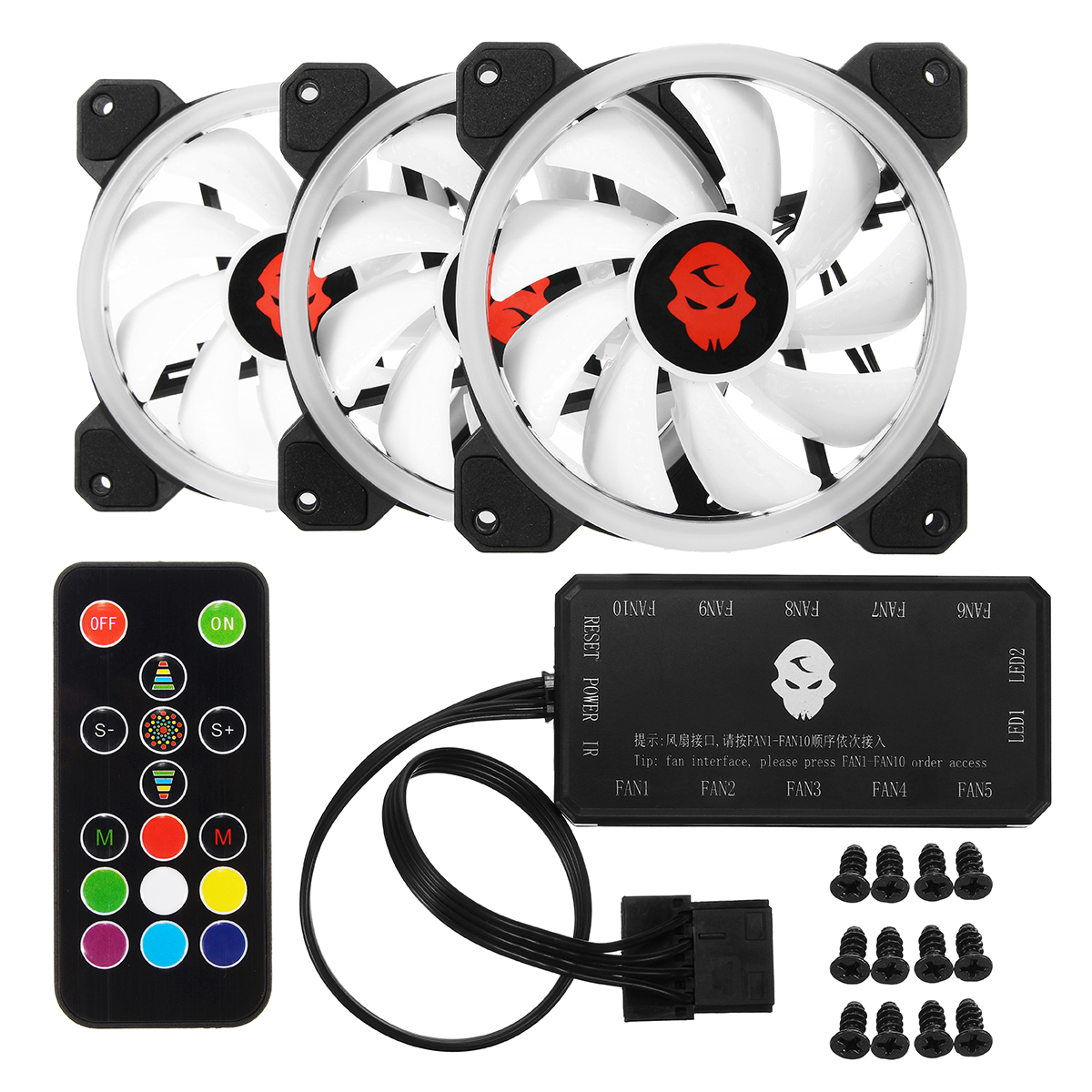 COOLMOON Quiet LED RGB Case Computer PC Cooling Fan Remote Control Cooler 120mm