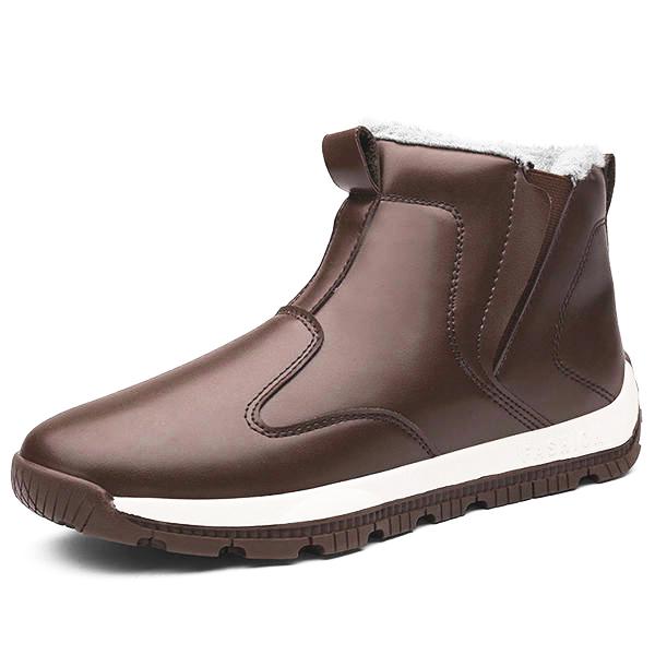 Men Comfy Genuine Leather Slip Resistance Warm Fur Lining Snow Boots - Ada slip resistance