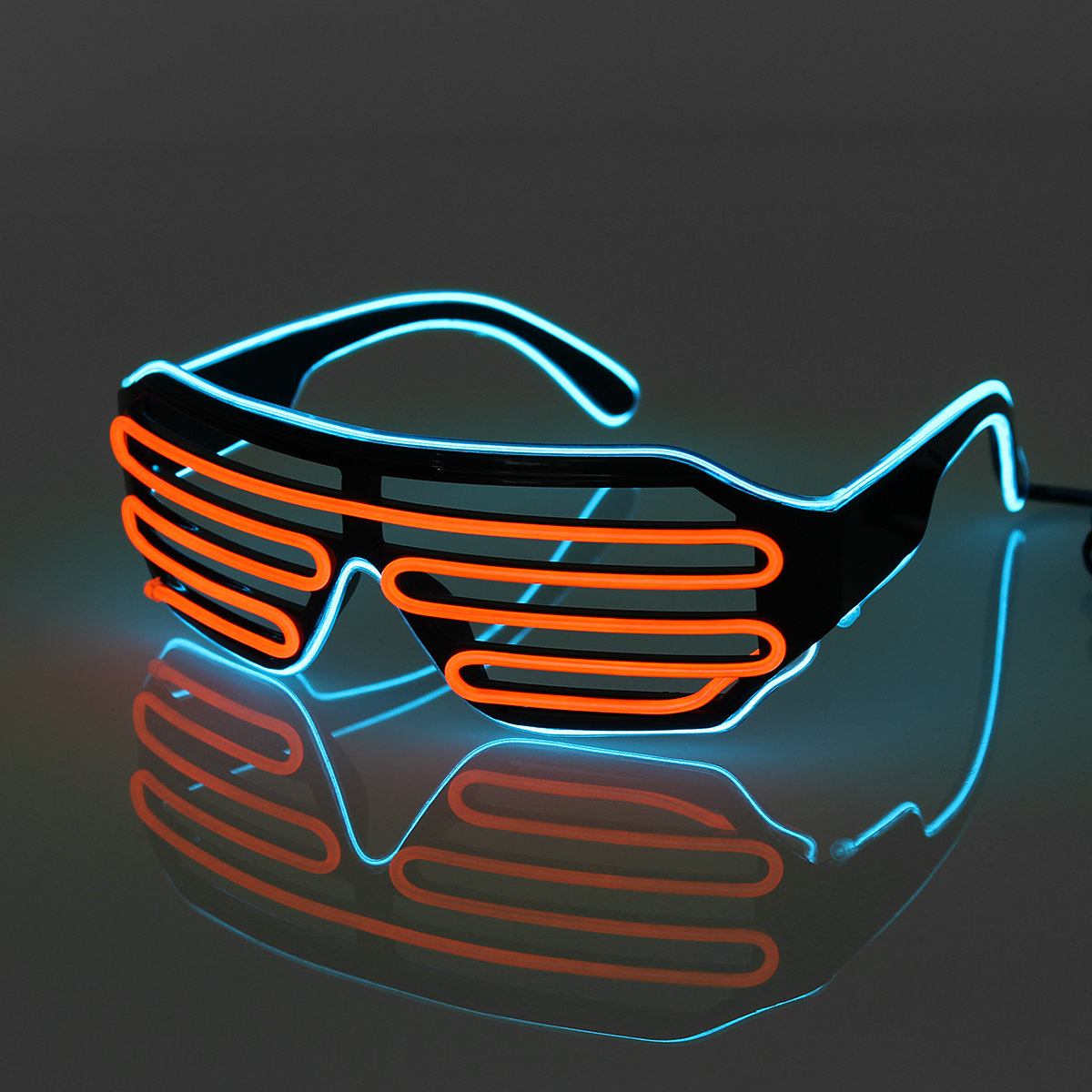 42854828e9d Sound Control Flash EL Wire Glasses Neon LED Light Up Shutter Glow Frame  Glasses