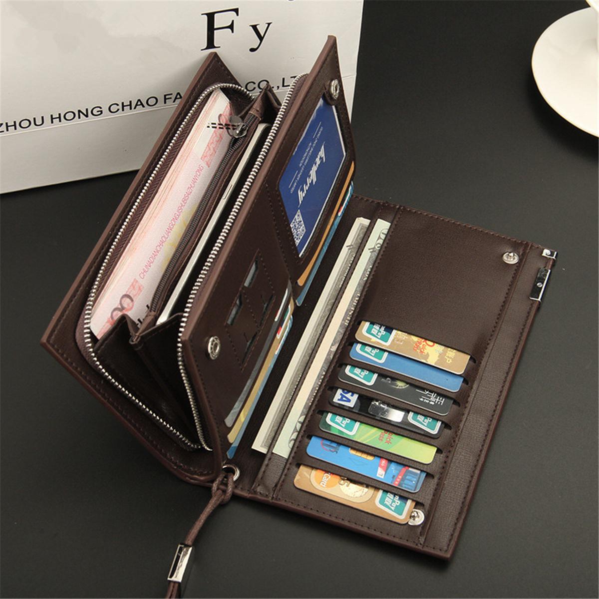 Baellerry Men PU Leather Clutches Bag Handbag Card Holder Wallet  Business Long Wallet for iPhone Sa