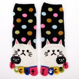 Women Cute Cartoon Cat Five Toes Socks Thick Warm Middle Tube Socks