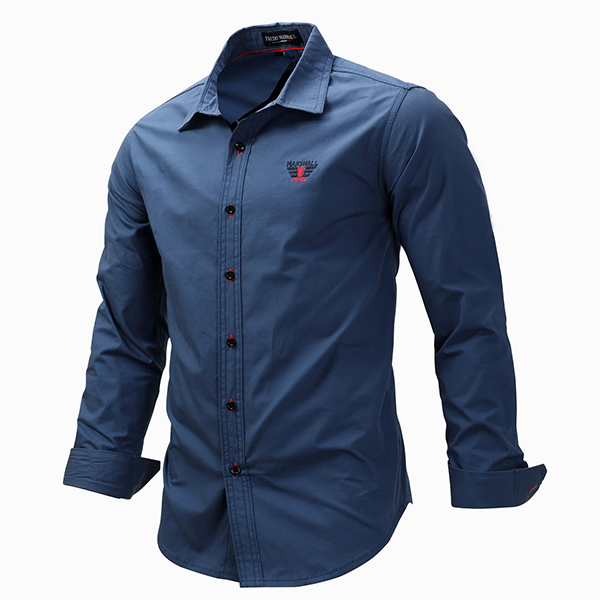 business casual long sleeves cotton solid color button up