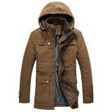 Mens Winter Velvet Plus Thick Big Pocket Hooded Outwear Parka Jacket