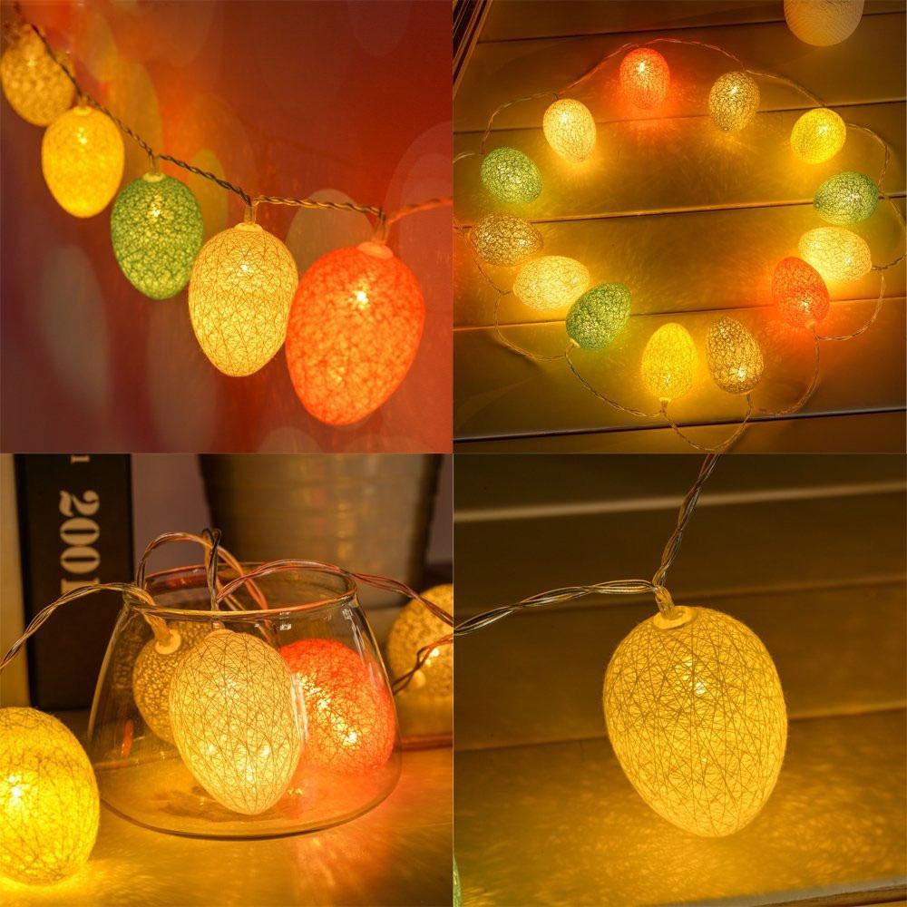 KCASA 1.8M 10 LED Cotton Easter Egg String Lights LED Fairy Lights for Festival Christmas ...