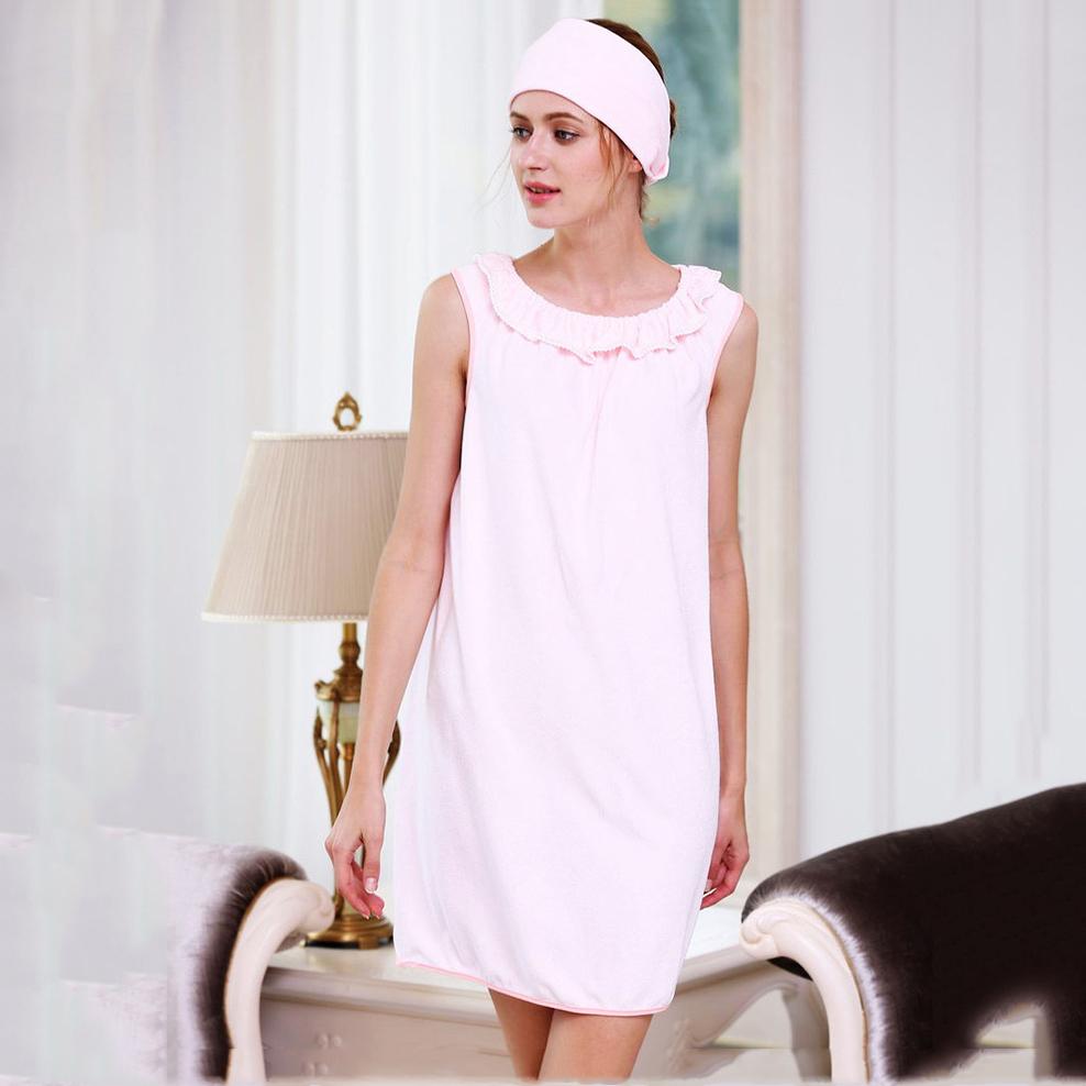 Honana br 957 able wear spa microfiber soft bathrobe women for Bathroom wear