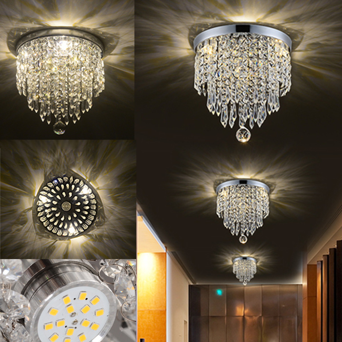 Led pendant ceiling lamp elegant crystal ball light led Crystal home decor