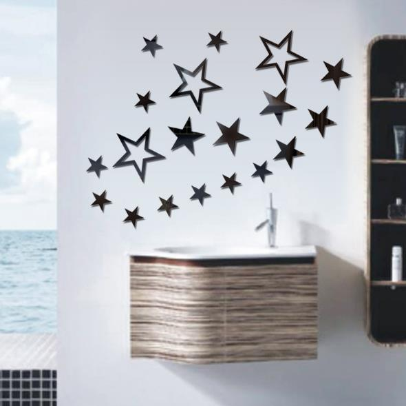Mirrored Star Wall Decor: 3D Star Multi-color DIY Shape Mirror Wall Stickers Home