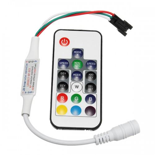 DC5-24V RF Mini Wireless LED RGBW Controller with 17 Keys Remote Control for W2811 W2812 Strip Light