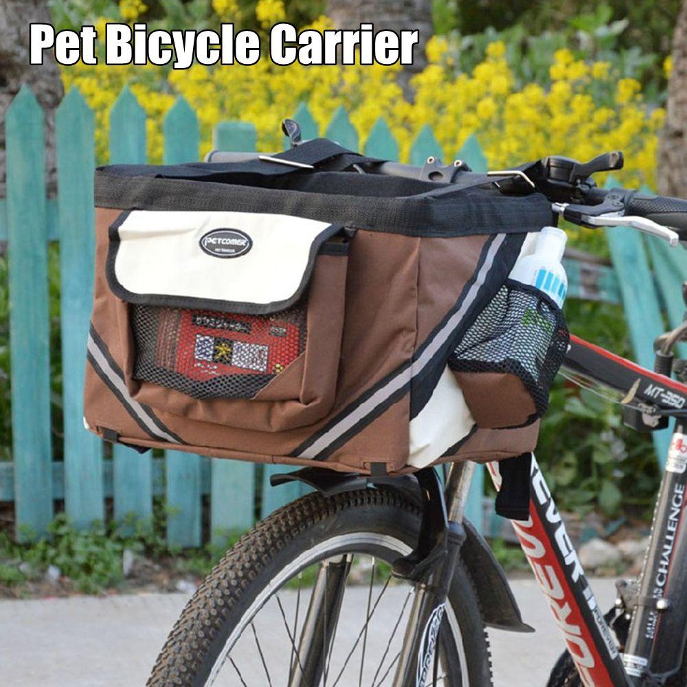 Pet Puppy Bicycle Basket Storage Puppy Ride Bike Canopy