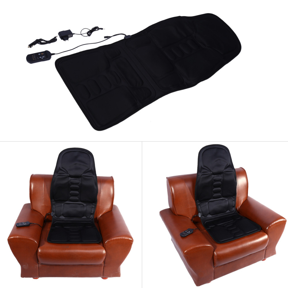 Loskii Electric Back Neck Massage Chair Seat Auto Car Home Office Full-Body Lumbar Massage Chair Relaxation Antistress Pad Seat Heat
