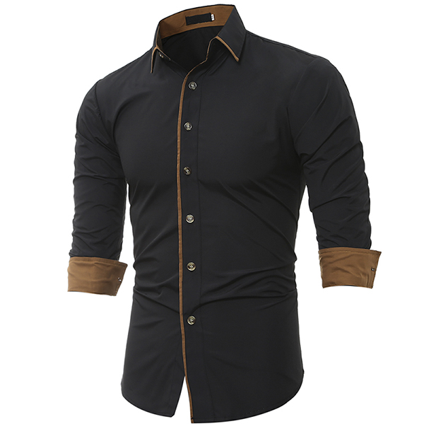 Mens personality contrast color casual solid color slim for Made to measure casual shirts