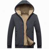 Winter Cashmere Thick Warm Coat Hoodies Solid Color Men's Casual Thermal Hoodies Cardigans