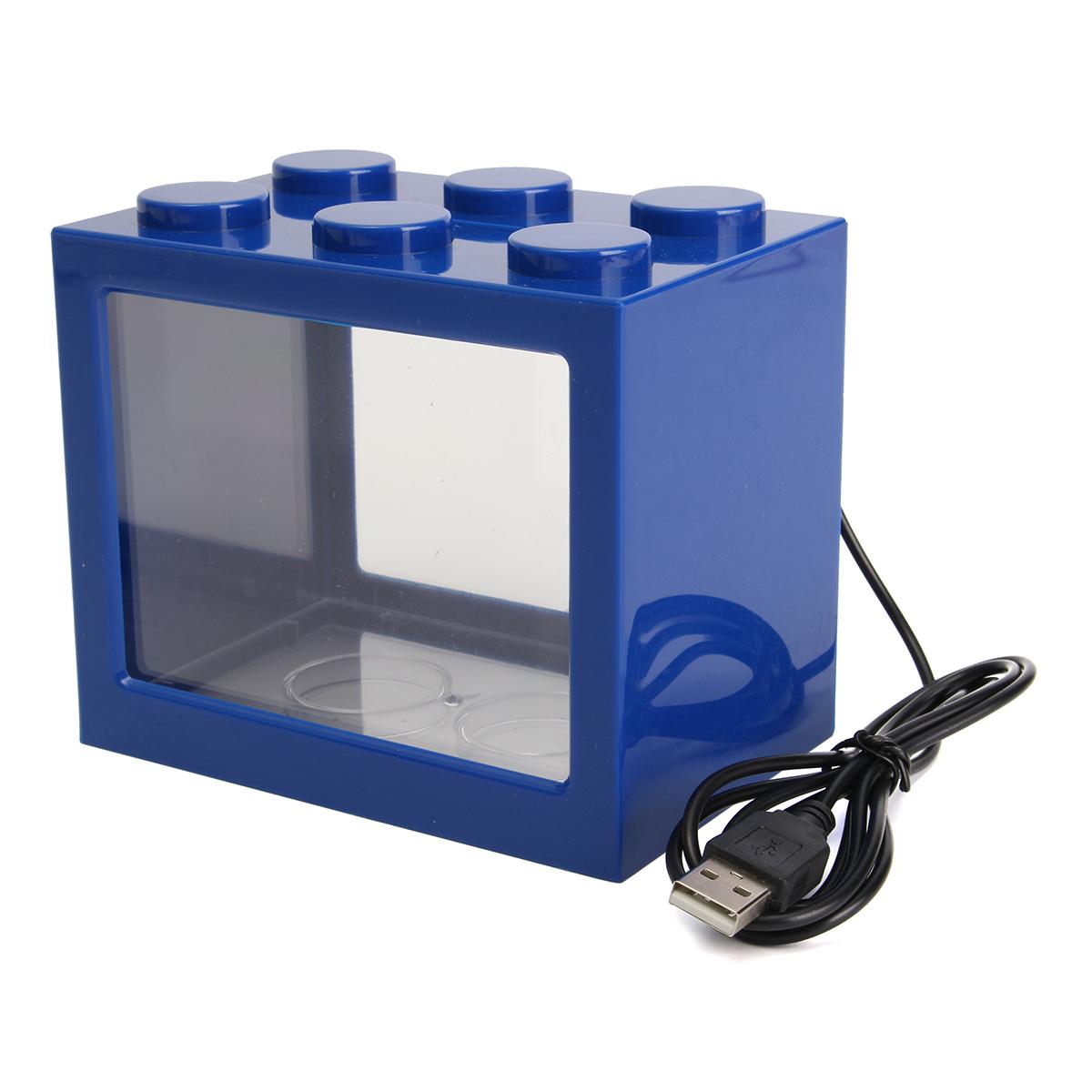 Mini usb led light clear fish tank mini aquarium box for Mini aquarium