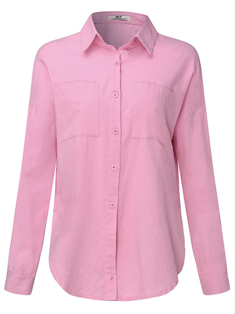 Pink Women Turndown Collar Pocket Long Sleeve Button Up