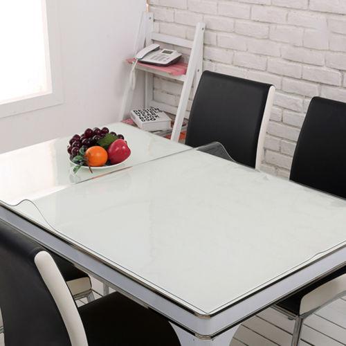Wipe Clean Transparent Tablecloth Mat PVC Glass Effect