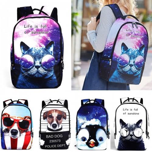 IPRee® Polyester Cartoon Laptop Backpack Cute Animal Dog Cat Print Schoolbag Rucksack