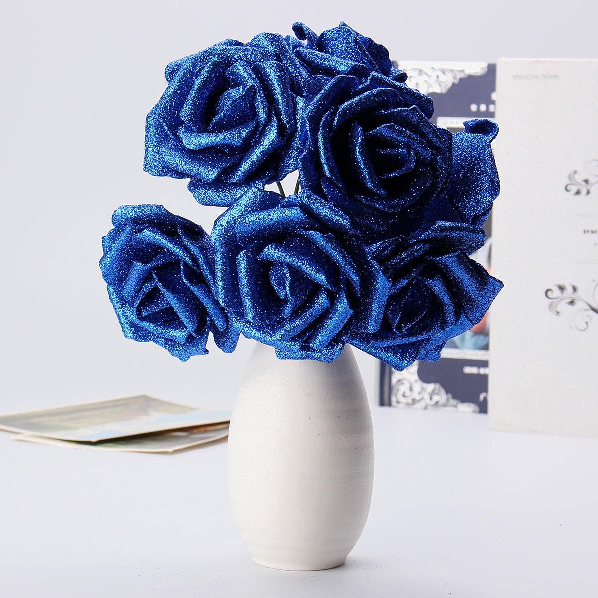 7pcs Artificial Bouquet Glitter Foam Artificial Flowers Wedding