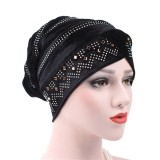 Women Gold Velour Stretch Turban Hat With Diamond Autumn Casual Warm Solid Beanie Cap