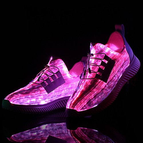 USB Colorful Light Shoes Lace Up Outdoor Sport Casual Shoes