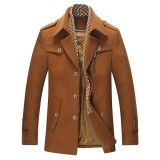 Mens Business Casual Wool Trench Coat Single-breasted Detachable Scarf Mid-long Jacket