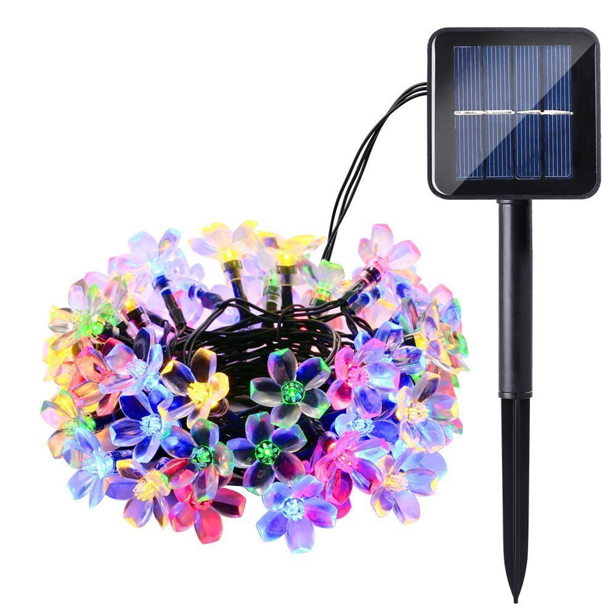 Solar Powered 6M 30LEDs Blossom Flower Outdoor Fairy String Lights for Christmas Wedding Party