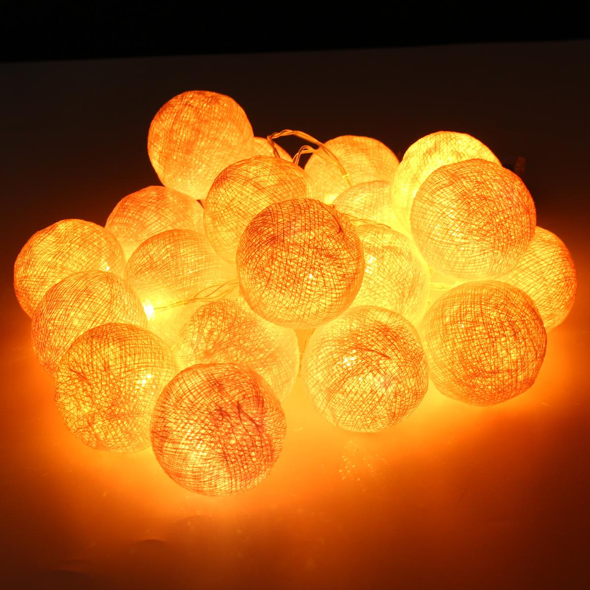 Battery Powered 10LEDs Warm White Cotton Ball Fairy String Light For Wedding Christmas DC3V