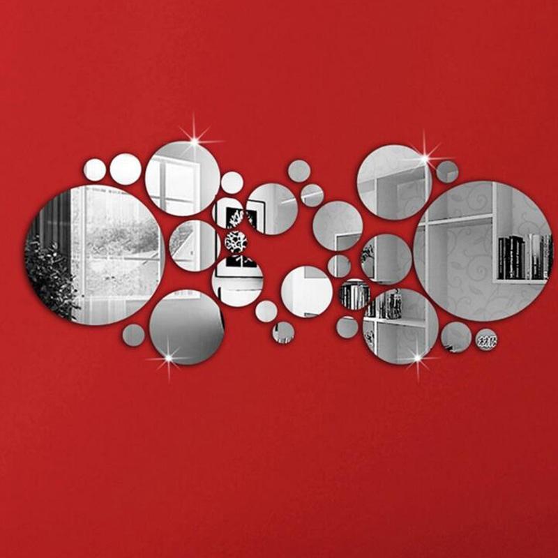 Honana dx y4 28pcs cute silver diy circle mirror wall for Silver bedroom wall art