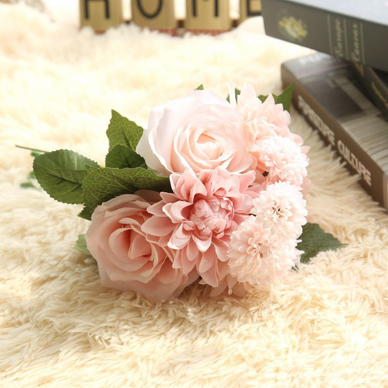 Rose Artificial Flowers Bridal Bouquet Fake Flower for Home Wedding ...