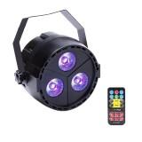 ARILUX® 12W 3 LED RGB+UV Remote DMX Control Stage Par Light for Christmas Party DJ Disco AC110-240V