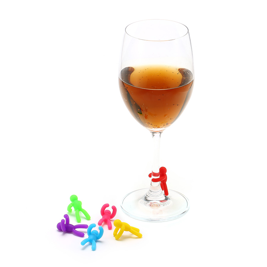 KCASA KC-GC08 6 Pcs Silicone Wine Charm Wine Glasses ...