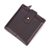 Men Genuine Leather Short Wallet Vintage Card Holder Zipper Credit Card Wallet with 12 Card Slots