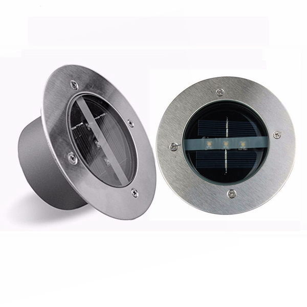 Outdoor Solar 3 LED Stainless Steel Buried Ground Floor Light Garden Lawn Landscape Lamp