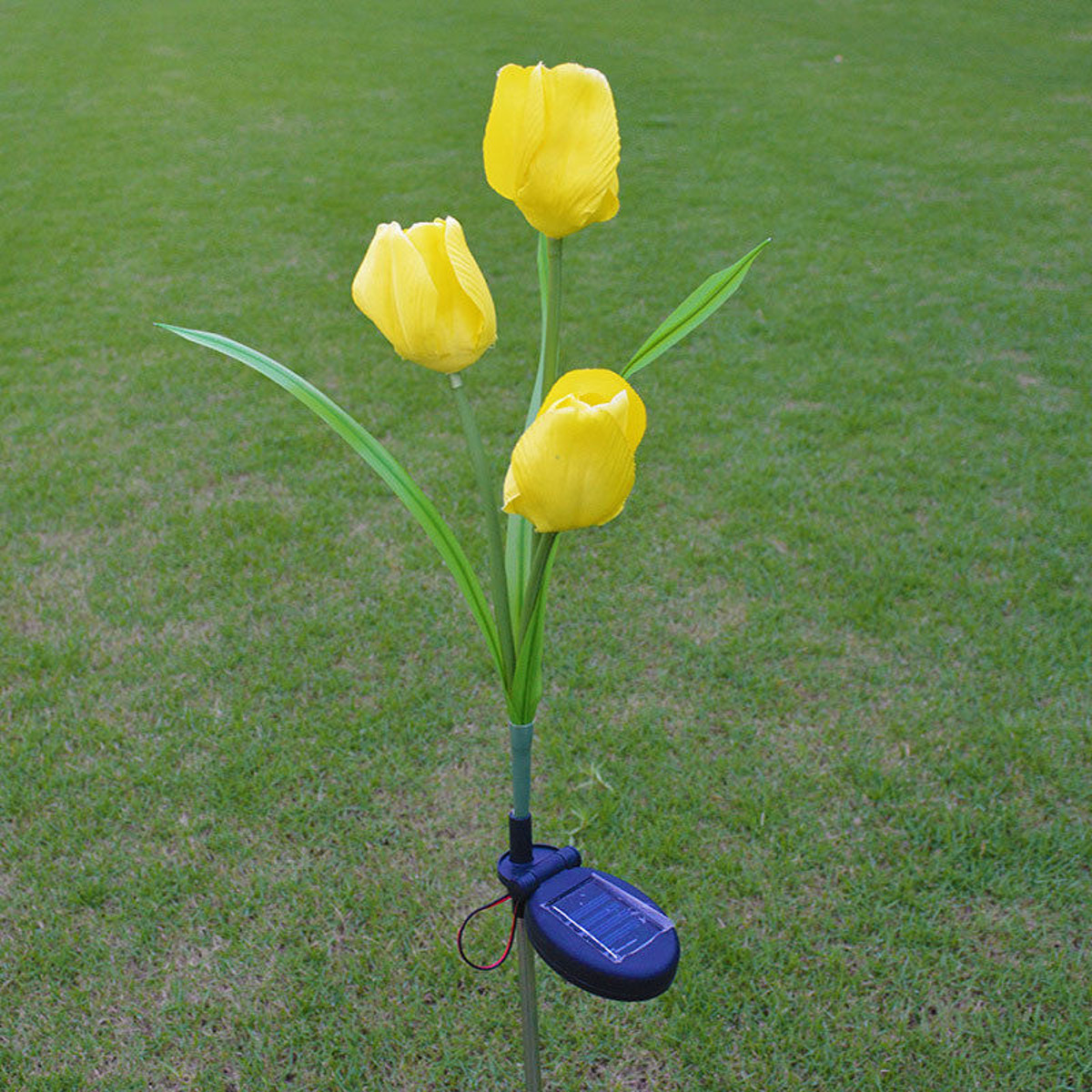 Outdoor Solar Lights Ireland: 2V Solar Power Mult Tulip Flower Garden Stake Landscape