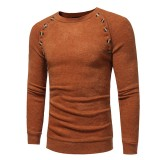 Autumn Winter Men's Fashion Button Design Pullovers Casual Slim Round Neck Long Sleeved Pullover Swe