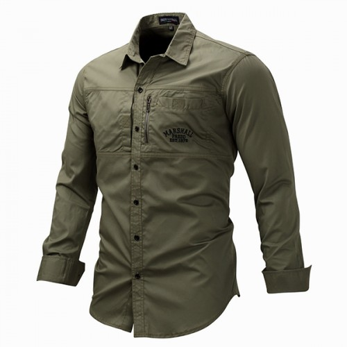 Outdoor military style chest zipper pocket long sleeve for Mens military style long sleeve shirts