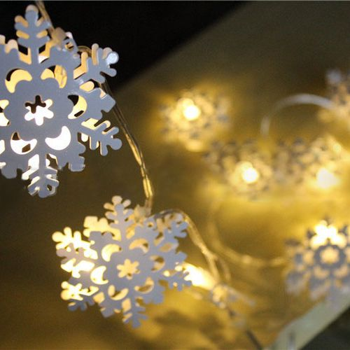 KCASA KT-12 20 LED Decorative Snowflake Metal String Lights 2 Meters Battery Operated for