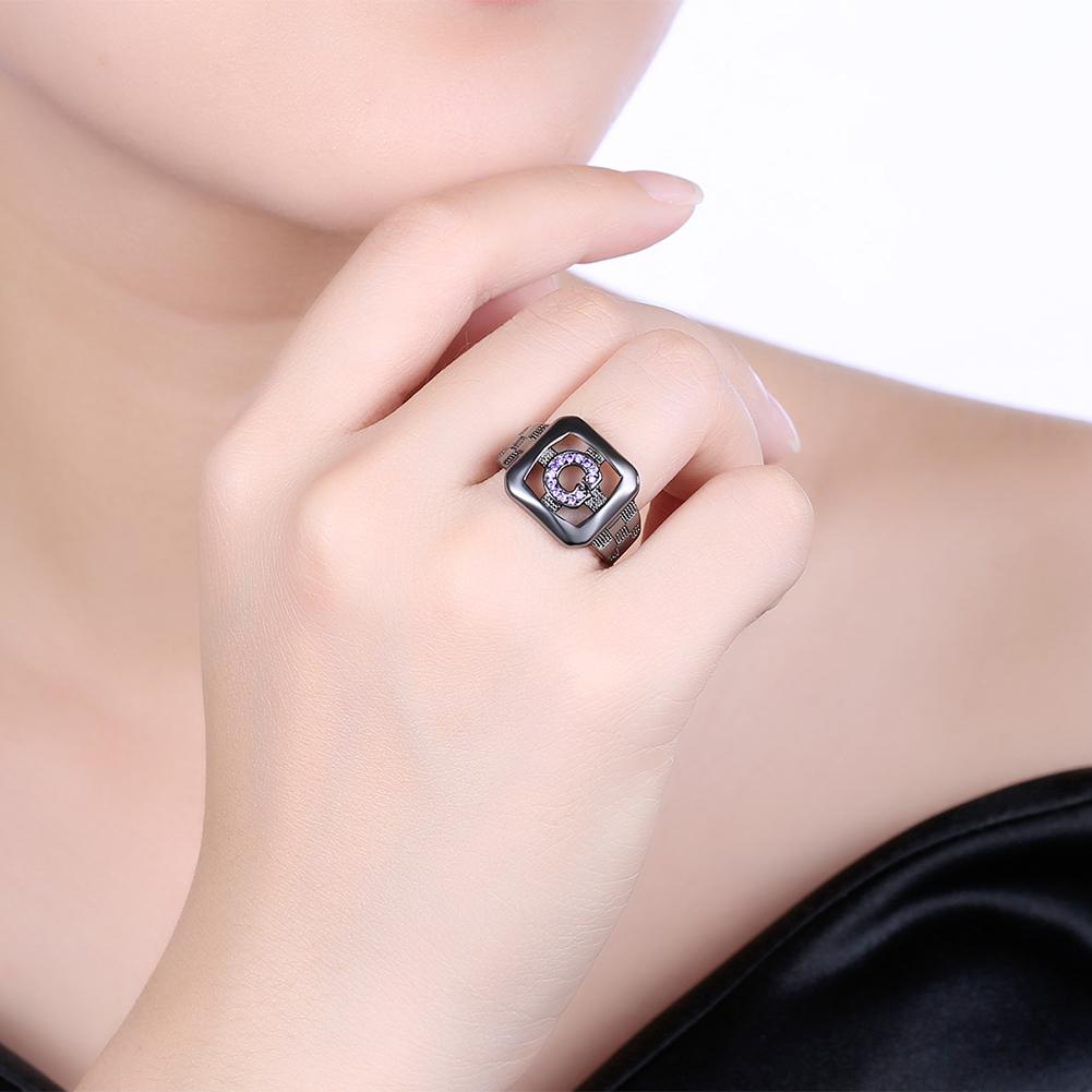 INALIS 14mm Elegant Shiny Zircon Ring Gun Black Plated Ring ...