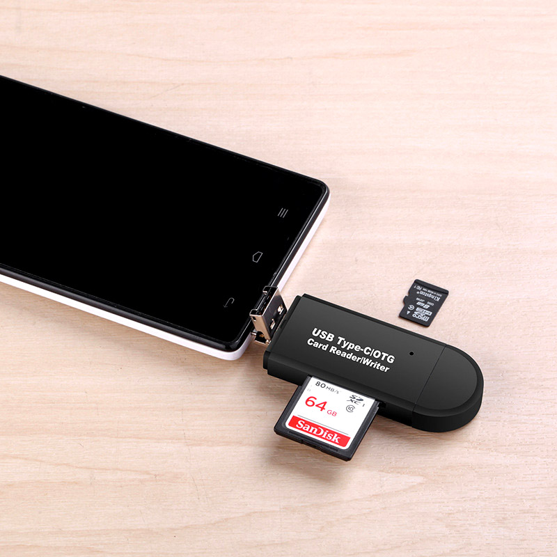 3 in 1 Multi Function Card Reader 480Mbps High Speed Type-c Micro USB SD TF Card OTG Card Reader