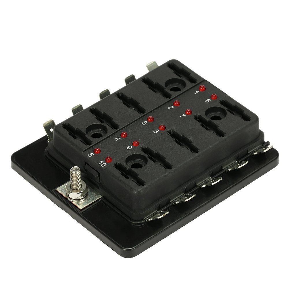 10 way blade fuse holder box 32v led illuminated. Black Bedroom Furniture Sets. Home Design Ideas
