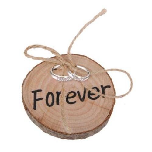 ULTNICE Rustic Wedding Ring Holder Ring Cushion Shabby Chic Wedding Wooden Ring Bearer Pillow
