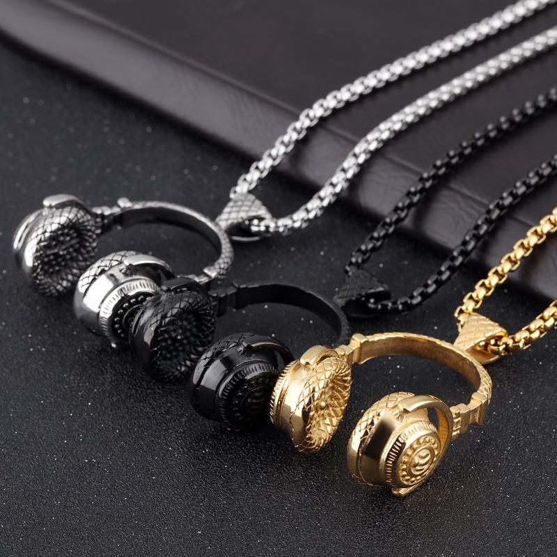 Men's Titanium Steel Earphone Shape Pendant Charm Necklace Hip Hop Accessories