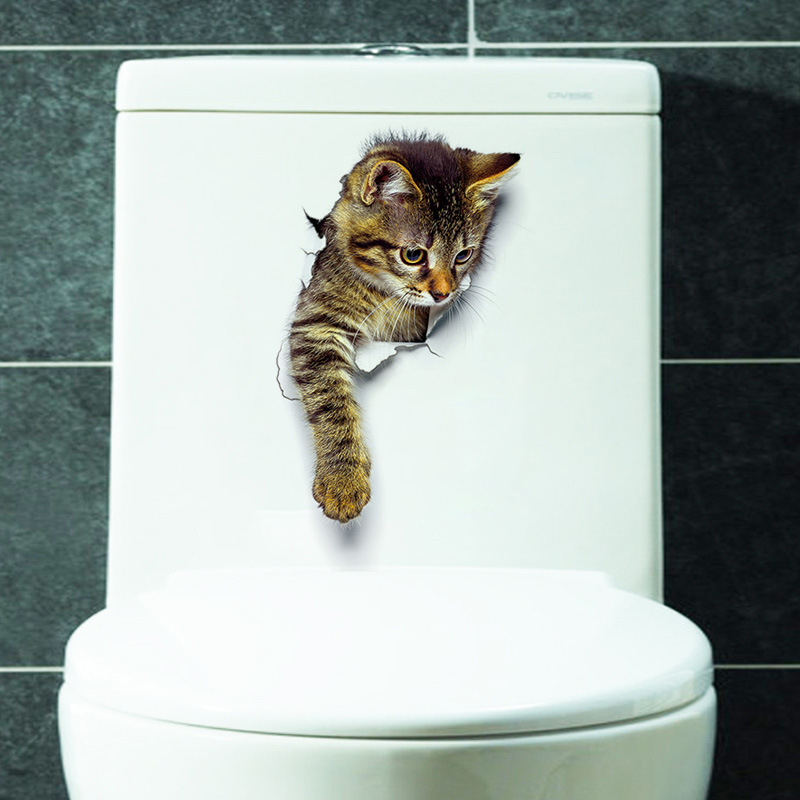 3d cute cat wall stickers toliet stickers decorations for Cat home decorations
