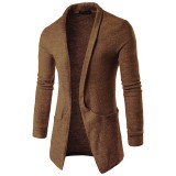 Men's Casual Lapel Big Pocket Long Cardigan Sweater Fashion Warm Woolen Knitted Outwear