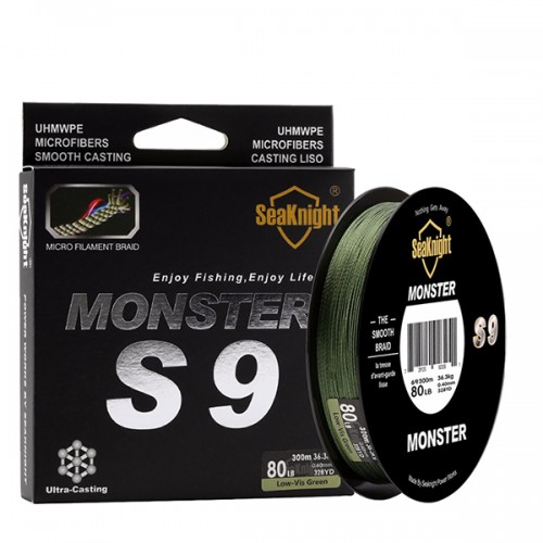 SeaKnight S9 300M 9 Strands Braided Wire 20-100LB Fishing Line 9.1-45.4KG Green Smooth PE Line